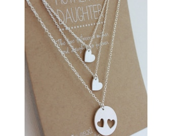 Mother Daughter Necklace Set - Mother's Day jewelry - mother daughter jewelry - necklace gift - wedding gift - Graduation Jewelry Gift