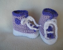 Crocheted Lavender and Purple High Top Sneakers - Made to Order