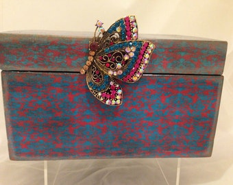 Turquoise & Red Decorative Jewelry Box