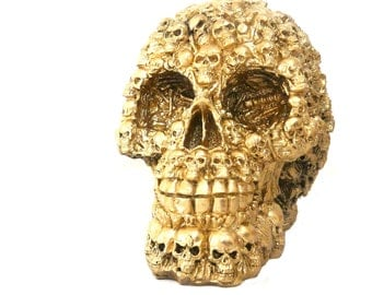 skull sculpture, macabre home decor, goth, skulls and bones, skull art, metallic gold