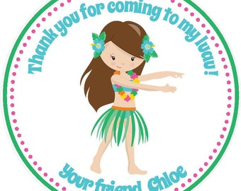 Luau Birthday Party Favor Tags - Girls