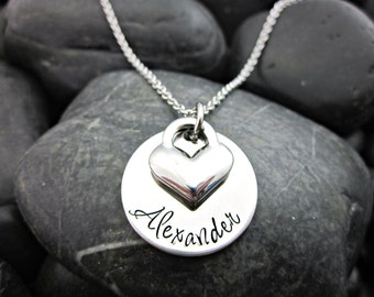 Personalized Mother's Necklace - Name - Heart Charm - Personalized