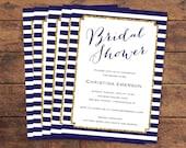 Nautical Glitter Gold Bridal Shower Invitation Printed - DIY Printables