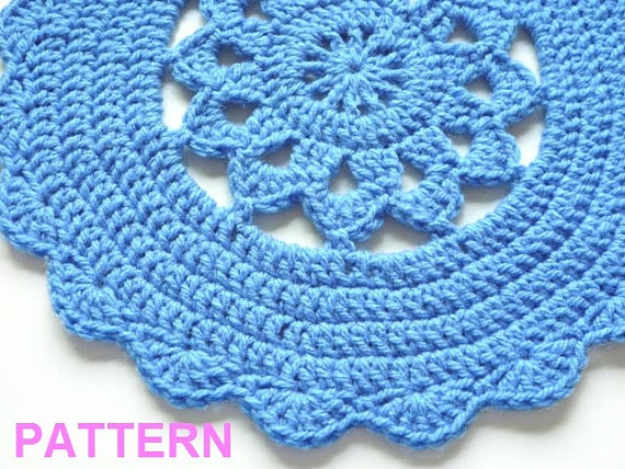 Free Printable Crochet Placemat Patterns : Crochet Placemat Pattern Scallop Edge Placemat Crochet