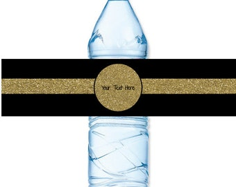 INSTANT DOWNLOAD - Gold Glitter Black Stripe Water Bottle Label Birthday Baby Bridal Wedding Shower - You Print