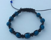 Macrame bracelet black leather cord with teal beads - adjustable size