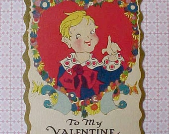 Darling Little 1920's Valentine Card with Happy Little Boy