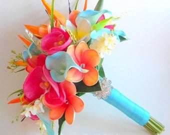 Tropical Garden Real Touch Beach Wedding Bridal Bouquet in Turquoise, Fuchsia and Orange- Style #110