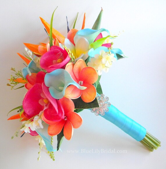 Tropical Garden Real Touch Beach Wedding Bridal Bouquet In