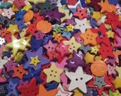 "25 Mixed Rainbow Star Sewing Buttons- Assorted Colors, Shapes and Sizes 1/8"" up to 1-1/2""  - CLEARANCE SALE"