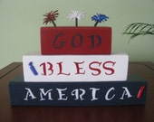 Blocks, God Bless America, 4th of July, patriotic, red, white, blue, shelf sitter, decoration