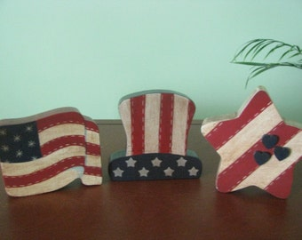Patriotic, Americana,  stained, flag, hat, star, hanpainted, red, white and blue, shelf sitter