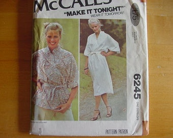 Vintage 1970s McCalls Pattern 6245, Misses' Dress or Top,Multi-Size (4 thru 20)