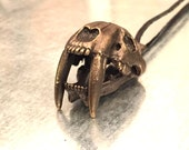 Saber-Toothed Cat Jewelry, Skull Necklace, Big Cat Necklace, La Brea Tar Pits, Predator Necklace