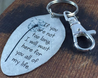 Oscar Wilde Keychain, If you are not too long, I will wait here for you all of my life keychain, Dandelion Puff Gift for friend, sister, mom
