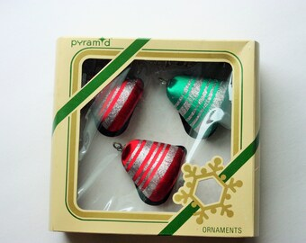Vintage Bell Shaped Christmas Ornaments, Satin Sheen, Pyramid Brand Unbreakable Ornaments, Kitsch