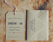 Reserved for Sasha - 47 Rustic Kraft Save the Date Tag with Eyelet, Twine and Envelope