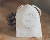 "100 Small Thank You Muslin Bags for Favors Hand-Stamped with First Names, Wedding Date and ""Lavender"""