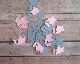 Fox Confetti - Fox theme, foxes, grey and pink foxes, table confetti, woodland confetti, woodland baby showers, baby shower confetti,