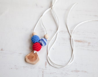 SALE Nautical Nursing necklace - teething toy - Babywearing - breastfeeding - juniper - pendant