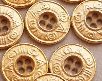 gold tone metal eco friendly flat disc buttons with aztec hieroglyphic design rims--matching lot of 8