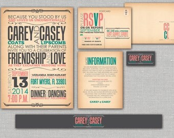 "Printable Wedding Invitation, RSVP, Info card, Monogram with Coral and Teal Design - Vintage, Rustic, Custom design-  ""Reminiscent Rustic"""