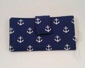 Navy with anchors Women's Wallet Clutch billfold Cell phone checkbook cover Organizer Bifold zipper credit card holder Leukodystrophy zipper