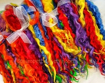 """Dyed Wool Locks Teeswater Long 8-10 inches """"Taste My Rainbow"""" Red, Orange, Yellow, Green, Blue and Violet"""