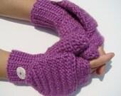 Hot Orchid Mittens, Alpaca Mittens, Convertible Mittens, Fingerless Gloves, Crochet Mittens, Autumn Accessories, Fall Mittens, Fall Gloves