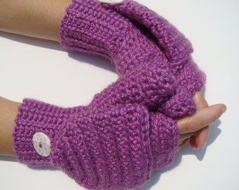 Hot Orchid Mittens, Alpaca Mittens, Convertible Mittens, Fingerless Gloves, Crochet Mittens, Autumn Accessories, Fall Mittens, Fall Gloves