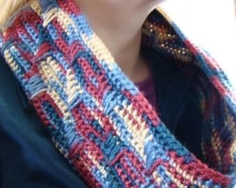 Colorful Barrel Cowl, Crochet Circle Scarf, Infinity Scarf, Cowl Neckwarmer, Fall Fashion, Women's Circle Scarf, Crochet Cowl, Barrel Scarf
