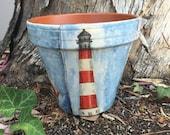 OCEAN POT / BEACH vase / nautical clay pot / sea planter flower pot