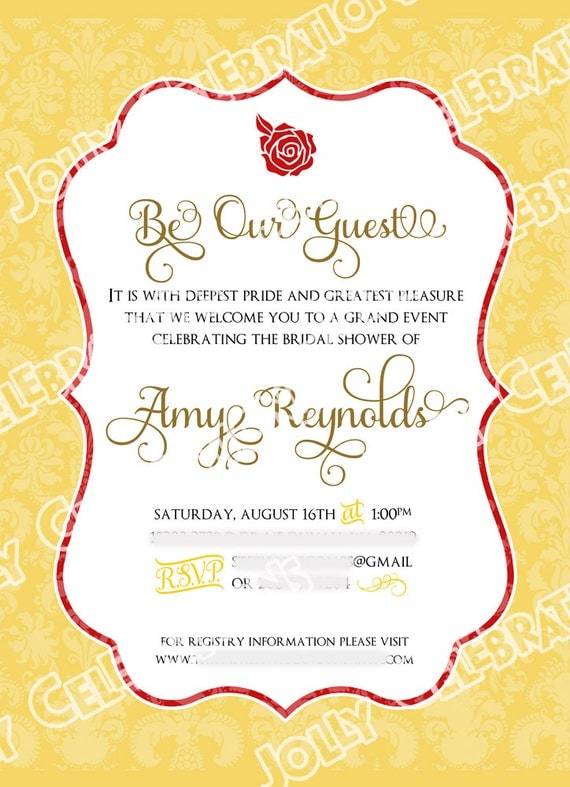 Belle or beauty and the beast bridal shower invitation party for Beauty and the beast wedding invitation template free