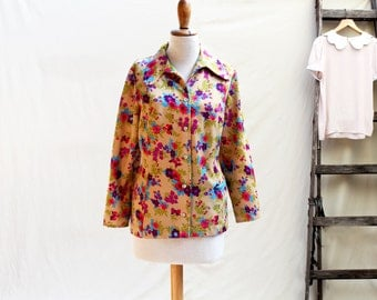 blouse  vintage Groovy Colored blouse straight from the 70s - Sandy brown Retro 70s Blouse / vintage