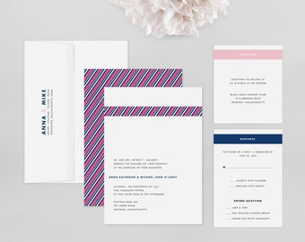 Wedding Invitation Modern Sample - Grosgrain - Wedding Invitation, Modern Wedding Invitation, Modern Wedding Invitations