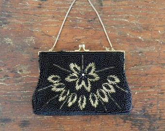 50's BEADED EVENING BAG - Black and Gold / Aurora Borealis / Intricate / Mid Century / Classic / Wedding / Elegant