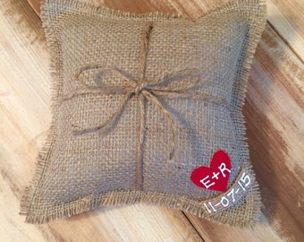 """8"""" x 8"""" Natural Burlap Ring Bearer Pillow w/ Jute Twine and Heart -Personalize w/ Initials & Wed Date- Rustic/Country/Shabby Chic/Wedding"""