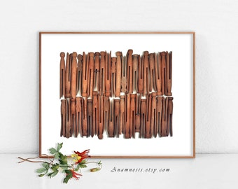Vintage WOOD CLOTHESPINS - Instant Download - printable image by Anamnesis for framing, totes, t-shirts etc. - laundry room art print