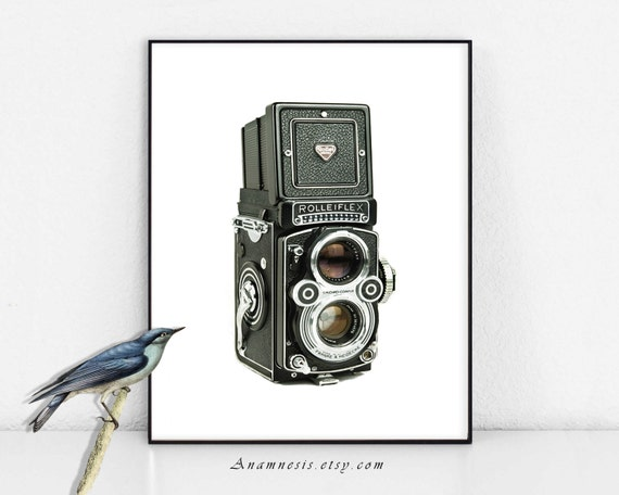 ROLLEIFLEX CAMERA Art Print - Instant Download - printable camera image by Anamnesis for framing, totes, cards, pillows, clothes, cups, mugs
