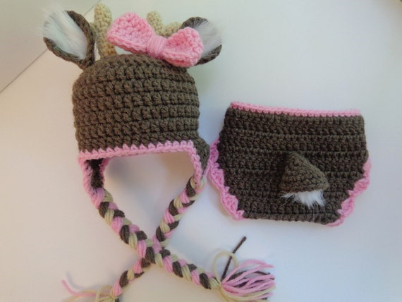 Free Crochet Deer Diaper Cover Pattern : Newborn Crochet Girls Deer Hat and Diaper Cover Photo prop