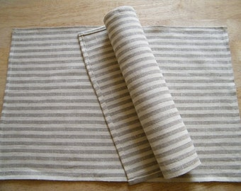 6 Pure Flax Linen Placemats - Natural table linens - gray beige white stripes - Kitchen Linens, Dining, Bar, Lin.
