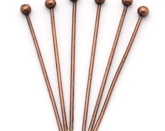 50pc Antique Copper Ball Head Pin - 21mm + 24 Gauge - Jewelry Finding, Jewelry Making Supplies, Lead Free, Earring, Ships from USA - HP59