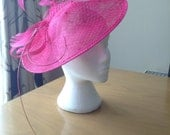 Large Fuschia Hot Pink Saucer Sinamay Fascinator Formal Hat, mother of the bride, Ascot, wedding