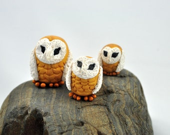 Barn Owls Miniature,  Metallic Gold with White faces