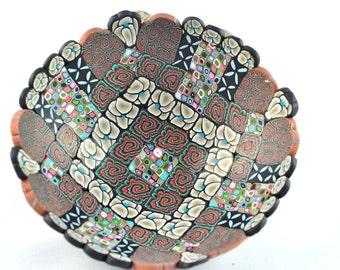 Bowl, Tan, Lite Blue, Pink Geometric Polymer Clay