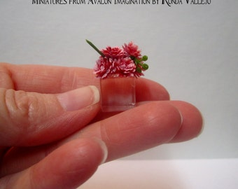 Miniature dollhouse floral arrangement - pink flowers on acrylic cube suitable for 1:12th scale or 1/6th Scale Barbie Blythe Etc.