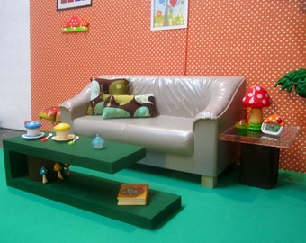 1/6th Scale Miniature Dollhouse Coffee Table with tree and mushroom details for Barbie, Blythe, and other fashion dolls