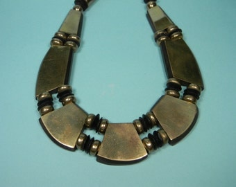 Bold Boho Brass Necklace, Lacquered Wood Accents, Vintage Statement