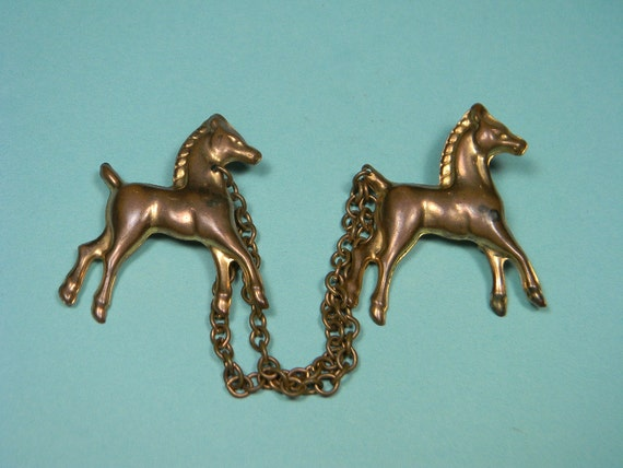 50s Horse Brooch Gold Tone Colts, Chatelaine Style, Vintage Figural, Just Reduced