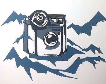 Polaroid with Abstract Landscape Screenprint